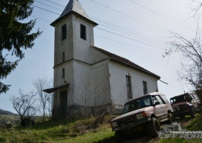 Offroading near Church in Transylvania